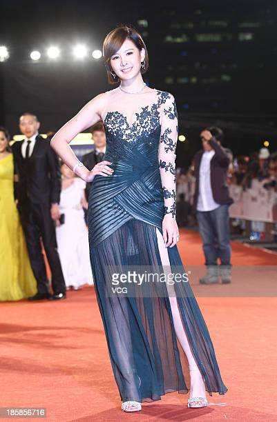 Amber An attends the red carpet of the 48th Golden Bell Award on October 25 2013 in Taipei Taiwan of China