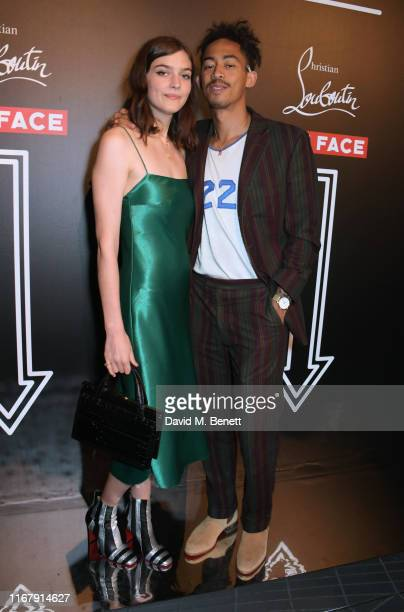 Amber Anderson and Jordan Stephens attend the LFW opening party hosted by Christian Louboutin & The Face at Jack Solomons on September 13, 2019 in...