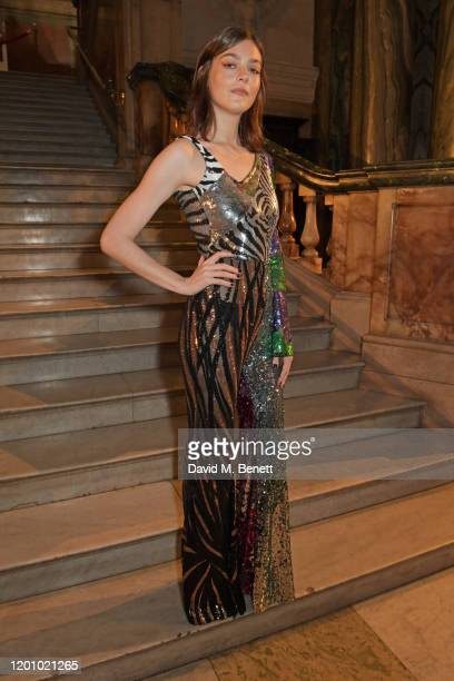 Amber Anderson attends the Halpern show during London Fashion Week February 2020 at The Old Bailey Ceremonial Entrance on February 15, 2020 in...