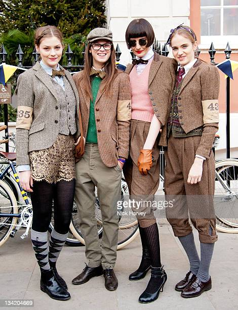 Amber Anderson Eden Clark Erin O'Connor and Eleanor Weedon attend the Rugby Ralph Lauren Tweed Run in Covent Garden on November 26 2011 in London...