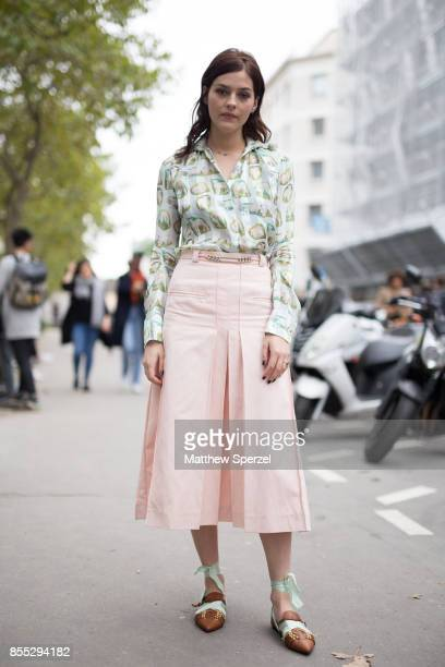 Amber Anderson is seen attending Carven during Paris Fashion Week wearing Carven on September 28 2017 in Paris France