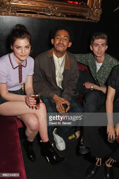 Amber Anderson Jordan Stephens and guest attend the ALEXACHUNG London launch party at The Aviary Bar on May 30 2017 in London England