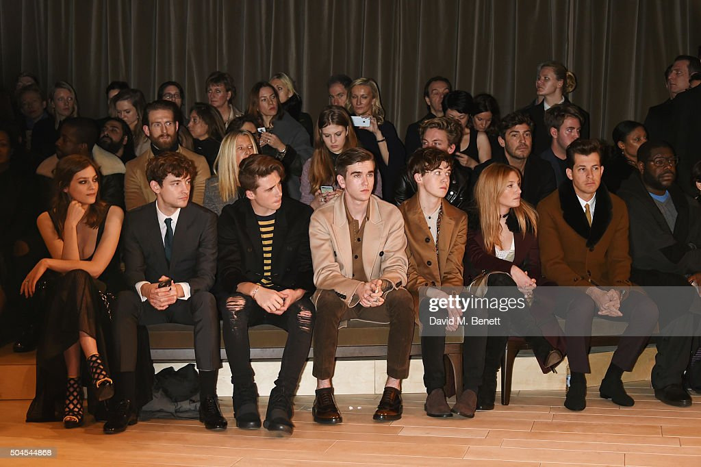 Amber Anderson, Josh Whitehouse, Brooklyn Beckham, Gabriel Day-Lewis, Alex Lawther, Josephine de La Baume, Mark Ronson and Steve McQueen attend the Burberry Menswear January 2016 Show on January 11, 2016 in London, United Kingdom.