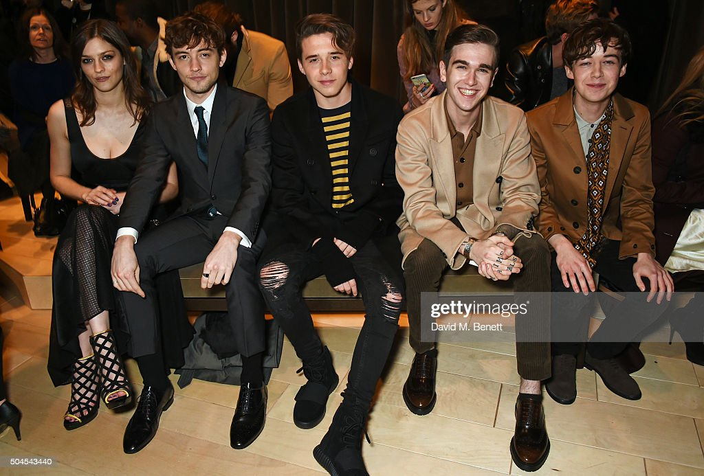 Amber Anderson, Josh Whitehouse, Brooklyn Beckham, Gabriel Day-Lewis and Alex Lawther attend the Burberry Menswear January 2016 Show on January 11, 2016 in London, United Kingdom.