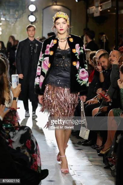 Amber Anderson walks the Dolce Gabbana Italian Christmas catwalk show at Harrods on November 2 2017 in London England