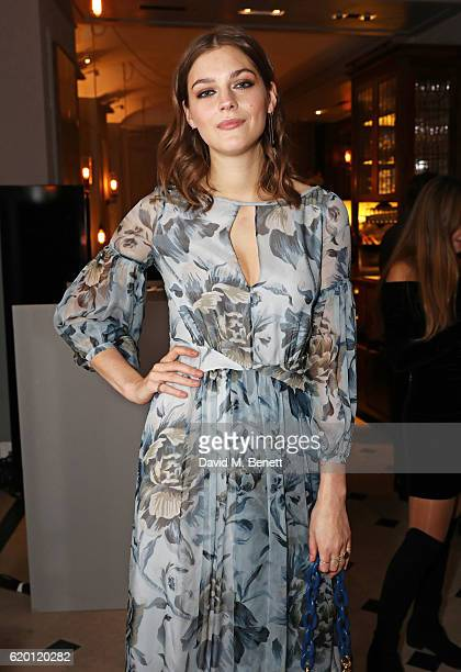 Amber Anderson wearing Burberry attends an event to celebrate 'The Tale of Thomas Burberry' at Burberry's all day cafe Thomas's on November 1 2016 in...