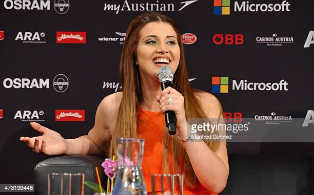 Amber Bondin who will represent Malta at '2015 Eurovision Festival' poses during a press meet and greet ahead of the Eurovision Song Contest 2015 at...