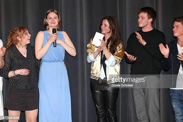 Amber Bongard Hanna Binke crying Katja von Garnier and Jannis Niewoehner during the German premiere of the film 'Ostwind 2' on May 3 2015 in Munich...