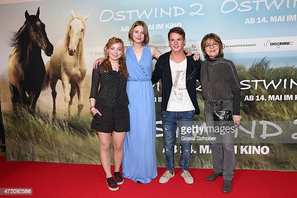 Amber Bongard Hanna Binke Marvin Linke and Cornelia Froboess during the German premiere of the film 'Ostwind 2' on May 3 2015 in Munich Germany