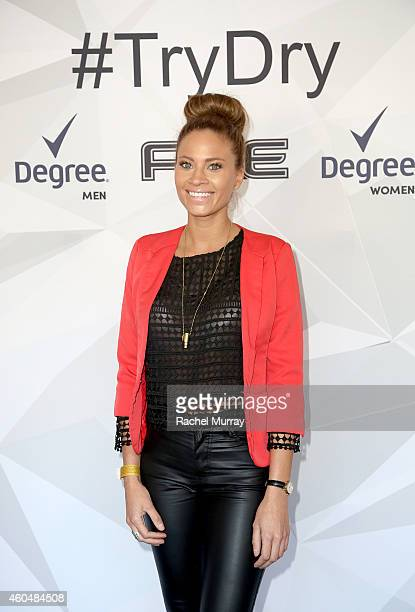 Amber Borzotra attends Unilever Dry Spray Antiperspirant event hosted by Kat Graham at ICE Santa Monica to #TryDry on December 14 2014 in Santa...