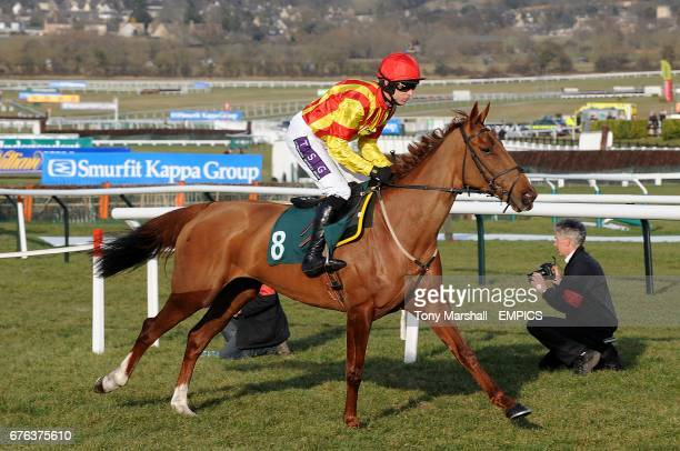 Amber Brook ridden by Paddy Brennan going to post for the David Nicholson Mares' Hurdle