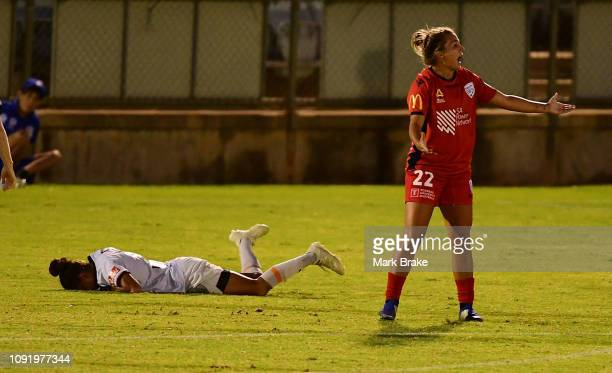 Amber Brooks of Adelaide United after giving away a penalty to Yuki Nagasato of Brisbane Roar during the round 14 WLeague match between Adelaide...