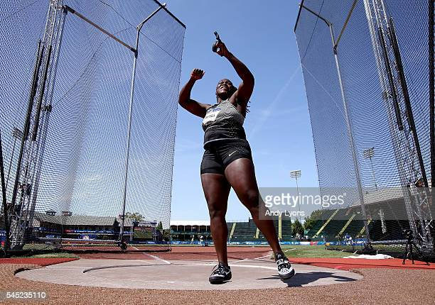 Amber Campbell, first place, competes in the Women's Hammer Throw Final during the 2016 U.S. Olympic Track & Field Team Trials at Hayward Field on...