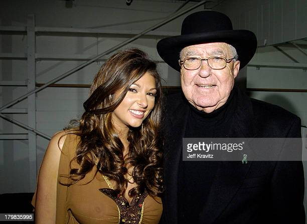 Amber Campisi and Carroll Shelby during Spike TV's 1st Annual Autorox Awards Backstage at Barker Hanger in Santa Monica California United States