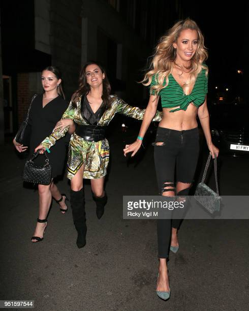 Amber Davies and Olivia Jade Attwood seen attending Stefflon Don x Boohoo launch party at Libertine on April 26 2018 in London England