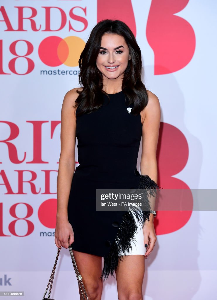 Amber Davies attending the Brit Awards at the O2 Arena, London