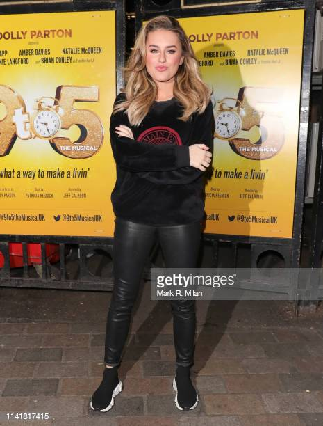 Amber Davies leaving 9 to 5 The musical at the Savoy Theatre on April 10 2019 in London England