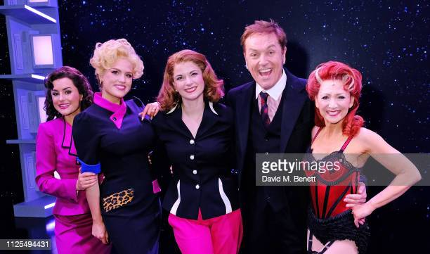 Amber Davies Natalie McQueen Caroline Sheen Brian Conley and Bonnie Langford bow at the curtain call during the Gala Night performance of 9 To 5 The...