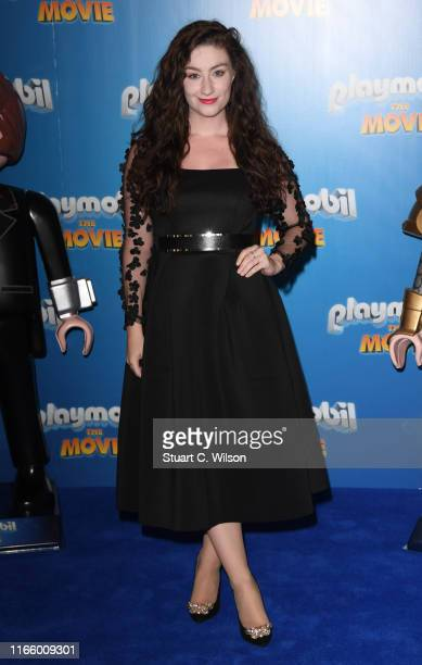 """Amber Doig Thorne attends """"Playmobil The Movie"""" UK Premiere at Vue West End on August 04, 2019 in London, England."""
