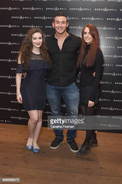Amber Doig Thorne James Ellis and Sophie Eggleton attend the Ghost in The Shell London Gala Screening on March 23 2017 in London United Kingdom