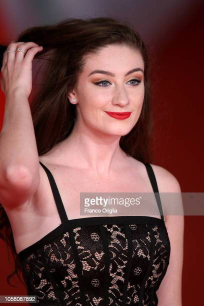 Amber Doig Thorne walks the red carpet ahead of the 'The Girl In The Spider's Web' screening during the 13th Rome Film Fest at Auditorium Parco Della...