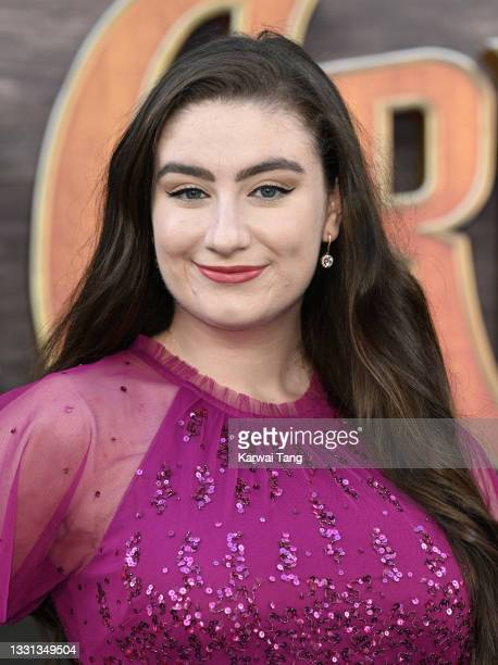"""Amber Doig-Thorne attends Disney's """"Jungle Cruise"""" UK premiere at Cineworld Leicester Square on July 29, 2021 in London, England."""