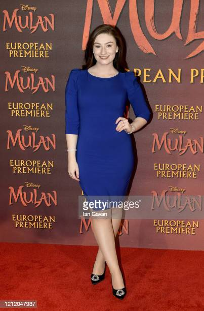 Amber DoigThorne attends the European Premiere of Disney's MULAN at Odeon Luxe Leicester Square on March 12 2020 in London England