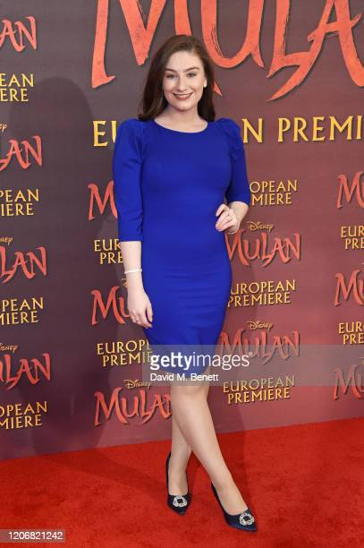 """Amber Doig-Thorne attends the European Premiere of """"Mulan"""" at Odeon Luxe Leicester Square on March 12, 2020 in London, England."""