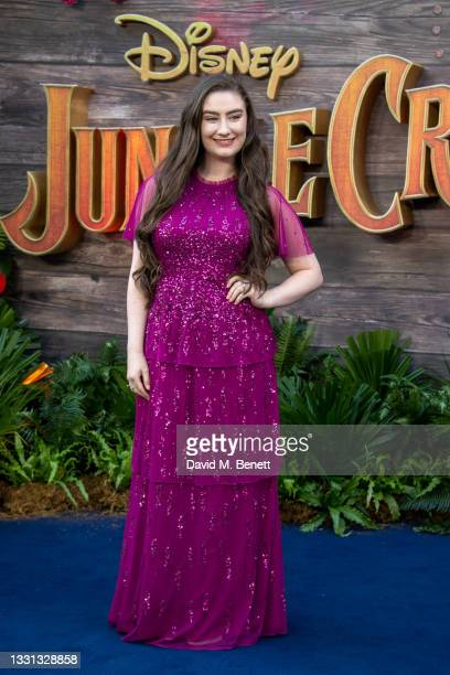 """Amber Doig-Thorne attends the London Premiere of Disney's """"Jungle Cruise"""" at Cineworld Leicester Square on July 29, 2021 in London, England."""