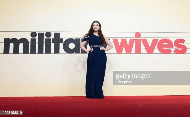 """Amber Doig-Thorne attends the """"Military Wives"""" UK Premiere at Cineworld Leicester Square on February 24, 2020 in London, England."""
