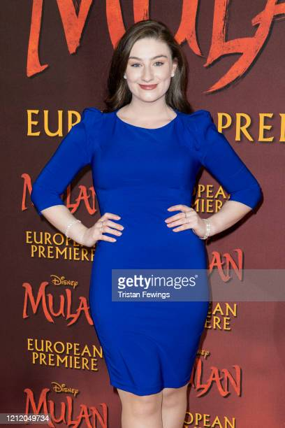 Amber DoigThorne attends the Mulan European Premiere at Odeon Luxe Leicester Square on March 12 2020 in London England