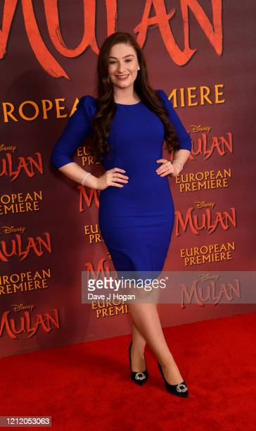 Amber DoigThorne attends the Mulan photocall at Trafalgar Hotel on March 13 2020 in London England