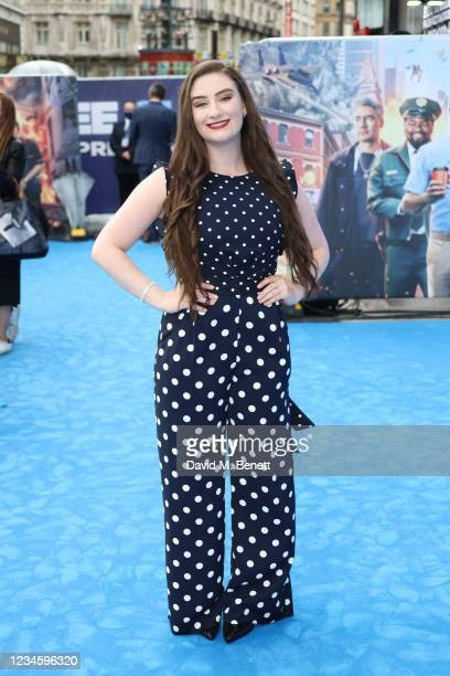 """Amber Doig-Thorne attends the UK Premiere of """"Free Guy"""" at Cineworld Leicester Square on August 9, 2021 in London, England."""