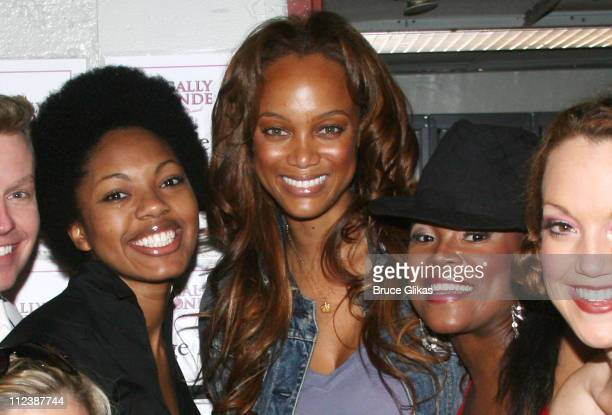 Amber Effie Tyra Banks and Dequina Moore during Tyra Banks visits Legally Blonde on Broadway at The Palace Theatre in New York NY United States