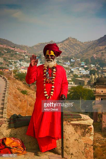 "Amber Fort Amer Jaipur India Asia ""Old Man"" dress colorful ""beard white"" necales necklaces flower hello Hi Greetings view landscape travel portrait..."
