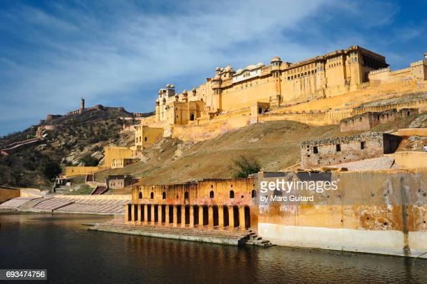 amber fort, jaipur, rajasthan, india - amber fort stockfoto's en -beelden