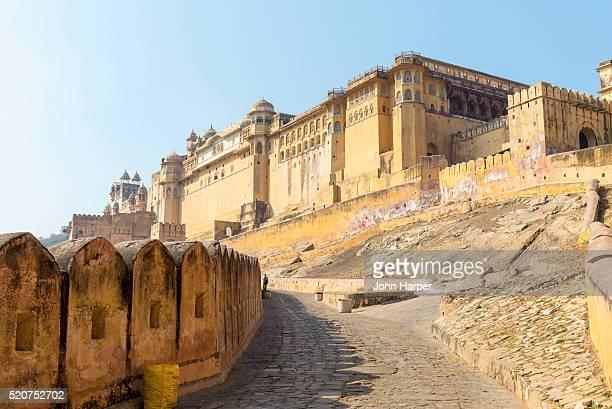 amber fort, jaipur, rajhathan, india - amber fort stockfoto's en -beelden