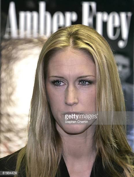 Amber Frey a key witness in the Scott Peterson trial makes a promotional appearance for her book Witness at Barnes Noble January 10 2005 in New York...