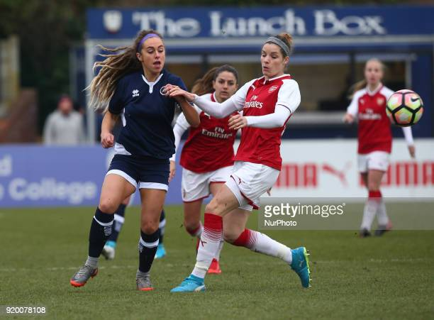 LR Amber Gaylor of Millwall Lionesses LFC and Dominique Janssen of Arsenal during The FA Women's Cup Fifth Round match between Arsenal against...