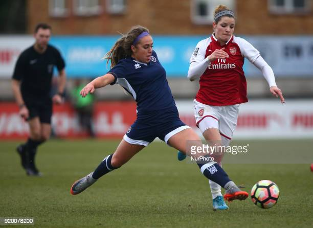Amber Gaylor of Millwall Lionesses L during The FA Women's Cup Fifth Round match between Arsenal against Millwall Lionesses at Meadow Park...