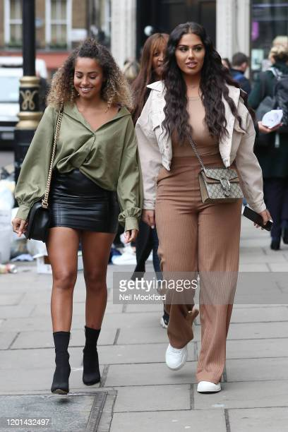 Amber Gill and Anna Vakili leaving Heat Radio studios on January 23, 2020 in London, England.