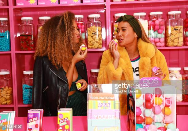 Amber Gill and Kaz Crossley attend the launch preview of eos lip balm popup the KeosK on November 1 2019 in London England The shop is open for one...