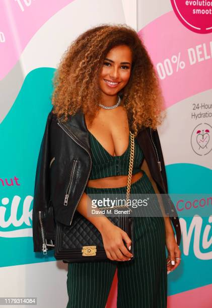 Amber Gill attends the launch preview of eos lip balm popup the KeosK on November 1 2019 in London England The shop is open for one day only on...