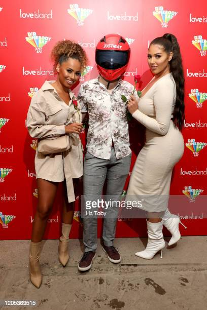 Amber Gill, Derek Wheeler and Anna Vakili attend the Just Eat Ultimate Love Island Date Night event at Night Tales on February 10, 2020 in Hackney,...