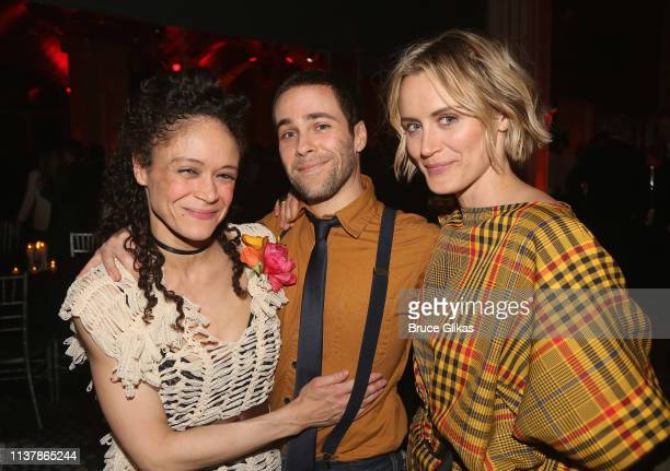 """Amber Gray, guest and Taylor Schilling pose at the opening night after party for the new musical """"Hadestown"""" on Broadway at Guastavino's on April 17,..."""
