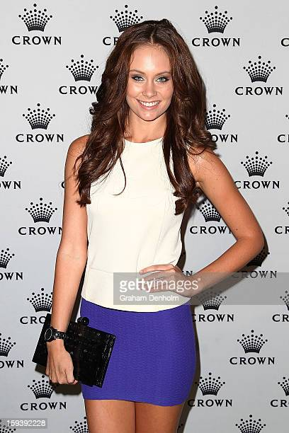 Amber Greasley arrives at Crown's IMG Tennis Player's Party at Crown Towers on January 13 2013 in Melbourne Australia
