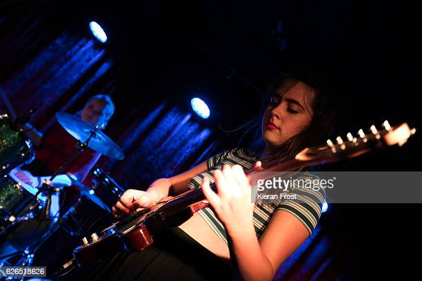 Amber Grimbergen and Ana Perrote of Hinds performs at The Academy on November 29 2016 in Dublin Ireland