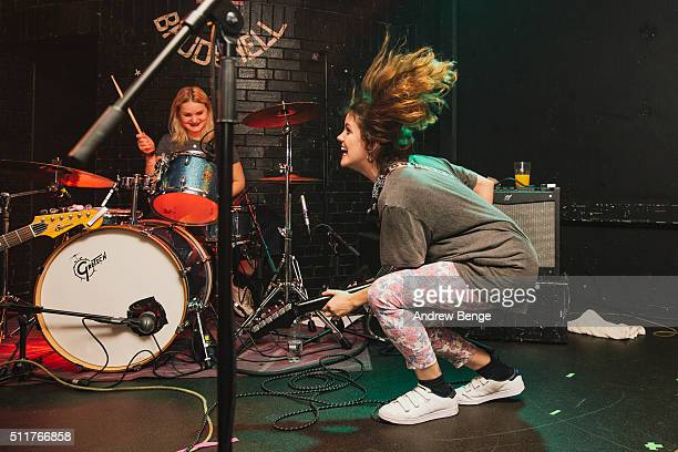 Amber Grimbergen and Carlotta Cosials of Hinds perform on stage at Brudenell Social Club on February 22 2016 in Leeds England