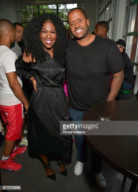 Amber Grimes and Kenny Hamilton attend Spotify Open House Mixer at The Gathering Spot on August 7 2017 in Atlanta Georgia