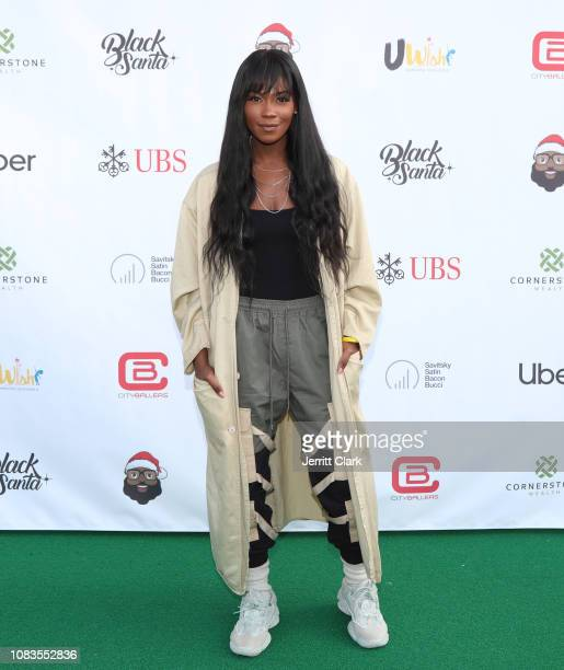 Amber Grimes attends UWish Presents: The Black Santa Celebrity Basketball Game at University High School on December 16, 2018 in Los Angeles,...
